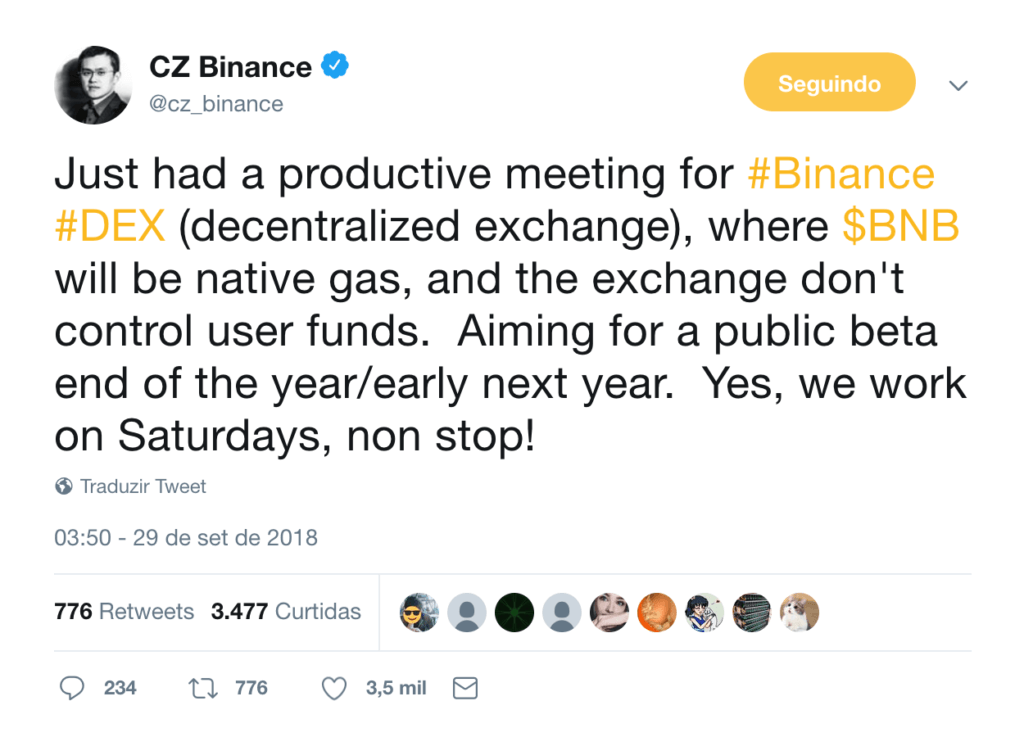 CZ, CEO da Binance, no Twitter