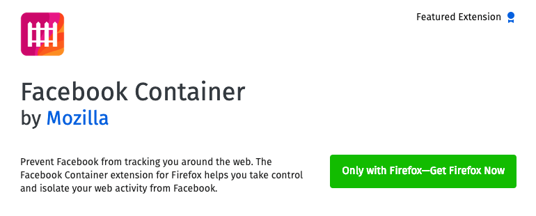 Facebook Container Firefox Extension by Mozilla